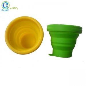 Supply ODM Reusable Travel Silicone Foldable Coffee Cup With Lanyard